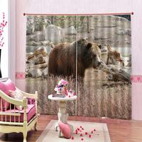 3D Digital Print Bear Curtains Blackout Window Living Room Bedroom Drapes Cortina Custom size