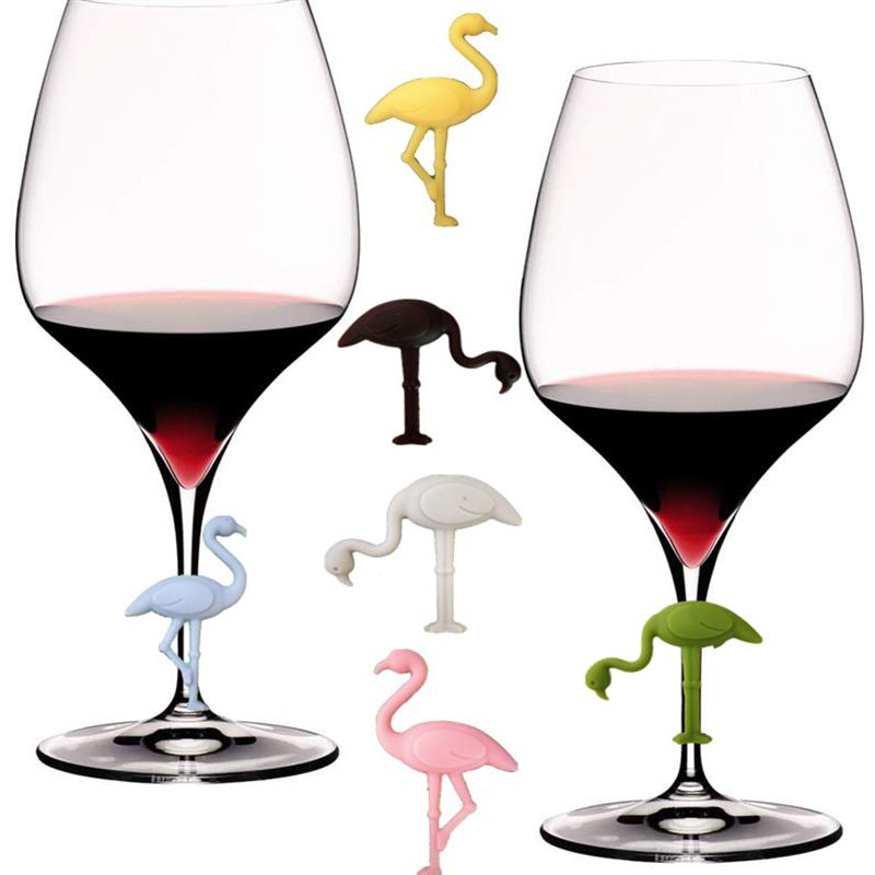 6PCS Silicone Wine Glass Marker Creative Flamingo Design Drink Charms Label Mark Glass Identification Perfect For Parties
