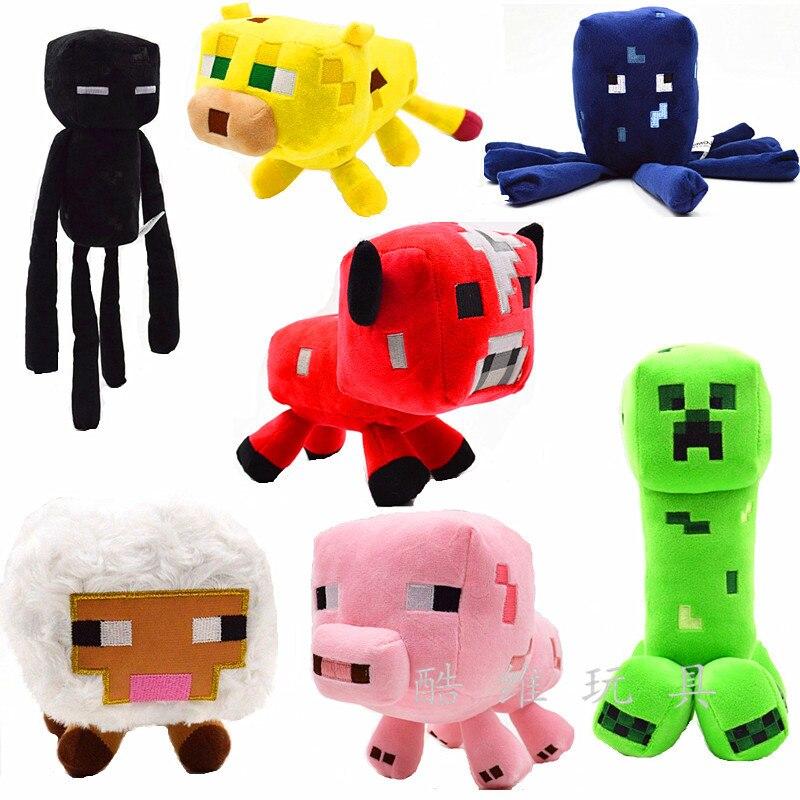 Minecraft-juguetes de peluche para niños, muñeco de felpa de Zombie, Bat, calamar, Mooshroom, Enderman, ocelote, cerdo, oveja, regalo de fiesta de cumpleaños