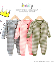Autumn Knitted Newborn Baby Clothes Cotton Autumn Winter Baby Romper With Plaid Hat Infant Toddler Jumpsuit For Girls Boys Set цена и фото