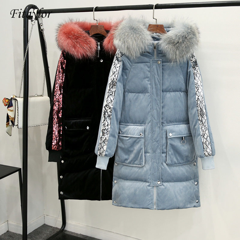 Fitaylor Fur Collar Hooded Velvet Long Women's Down Jacket Sequins Decorated Casual Ladies Winter Coat Female Thick Warm Outwear
