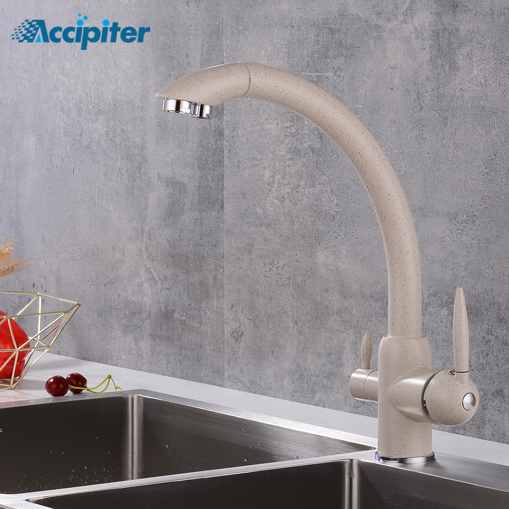 Kitchen Filter Faucets Deck Mounted Mixer Tap 360 Rotation With Water Purification Mixer Tap Crane For Kitchen