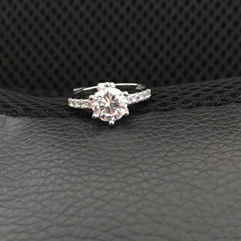 YANHUI Heißer Verkauf Mode Runde 2 Karat Zirkonia Hochzeit Ringe Für Frauen Mit 18KRGP Stempel Weiß Gold Gefüllt Ringe frauen Geschenk R001