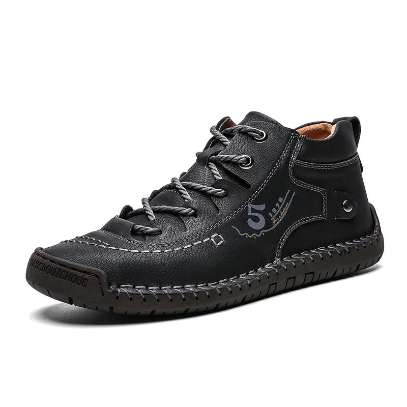 2019 Men Shoes Leather Winter Shoes Men Warm Comfortable Mans Footwear Fur Waterproof Ankle Boots Men Lace-up Shoes Big Size 2
