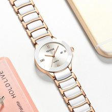 Auto Date Lover's Watches Simple Elegant White Ceramic Waterproof Couple