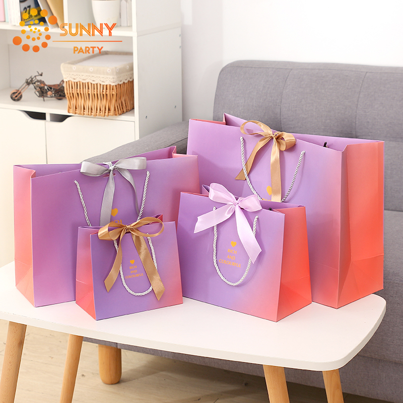 Purple Pink Gradient Paper Package Bags Heart Ribbon Bow-knot Tote Bag Birthday Confession Souvenir Gift Package Party Supplies
