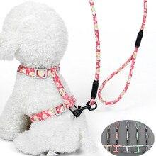 Śliczna obroża dla kota/psa szelki smycz mała stokrotka nadruk w kwiaty zabawka-sznurek dla psa pas piersiowy dla małych średnich zaopatrzenie dla piesków akcesoria
