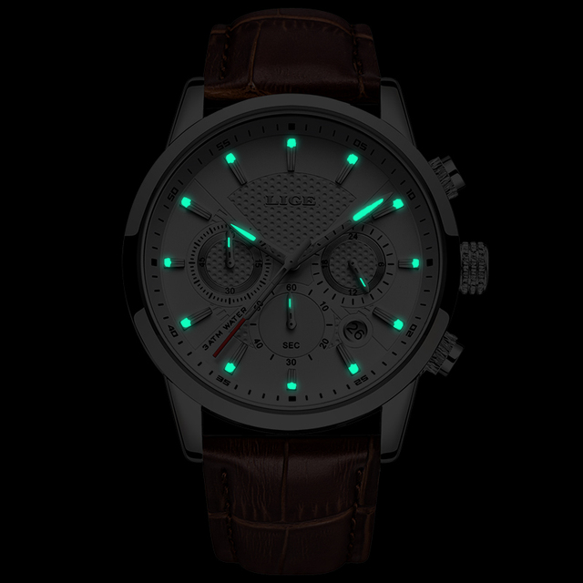 LIGE Leather Chronograph Watch 8
