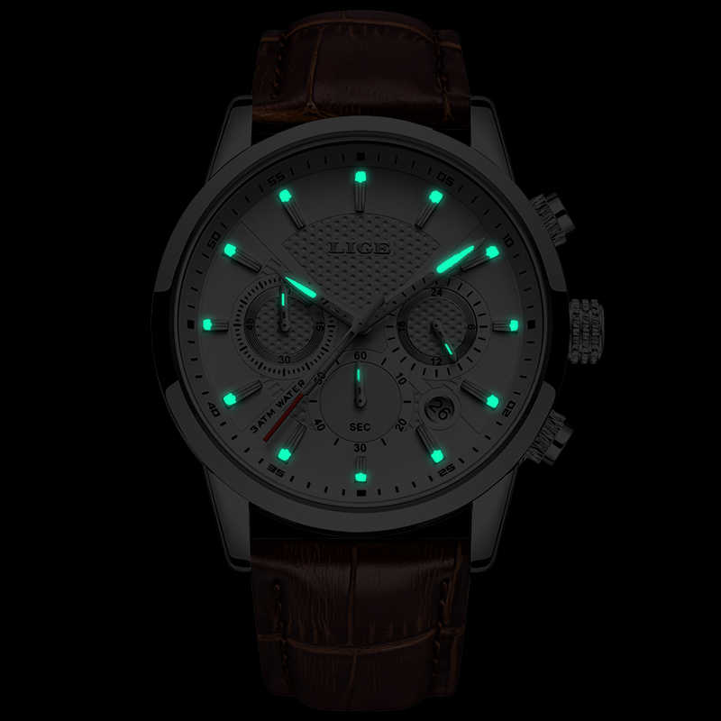 2020 Nieuwe Heren Horloges Luik Top Merk Lederen Chronograaf Waterdichte Sport Automatische Datum Quartz Horloge Voor Mannen Relogio Masculino