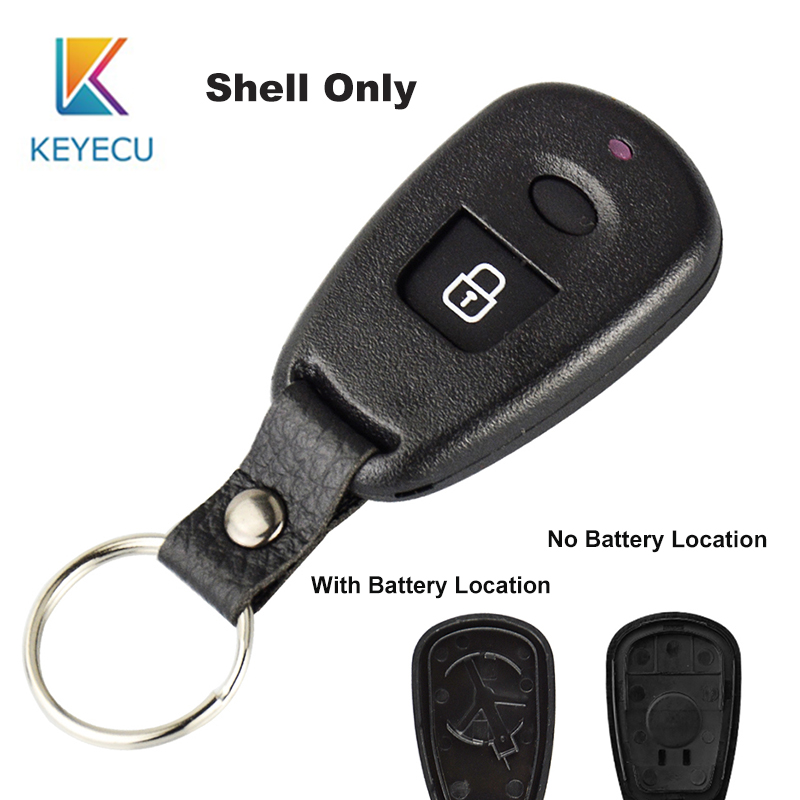 KEYECU 1 Button/2 Button Remote Key Shell For <font><b>Hyundai</b></font> <font><b>Elantra</b></font> Sonata Santa Keyless Fob Case Replacement With/No <font><b>Battery</b></font> Location image