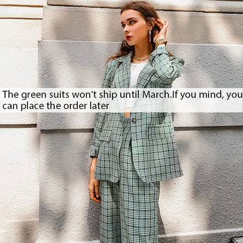 Simplee Elegant plaid two-pieces women blazer suit Casual streetwear suits female blazer set Chic office ladies women coat suit 7