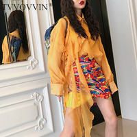 TVVOVVIN 2019 New Turn down Collar Lantern Sleeves Yellow Orange Ruffles Patchwork Scarf Shirt And Sling Two Pieces X254