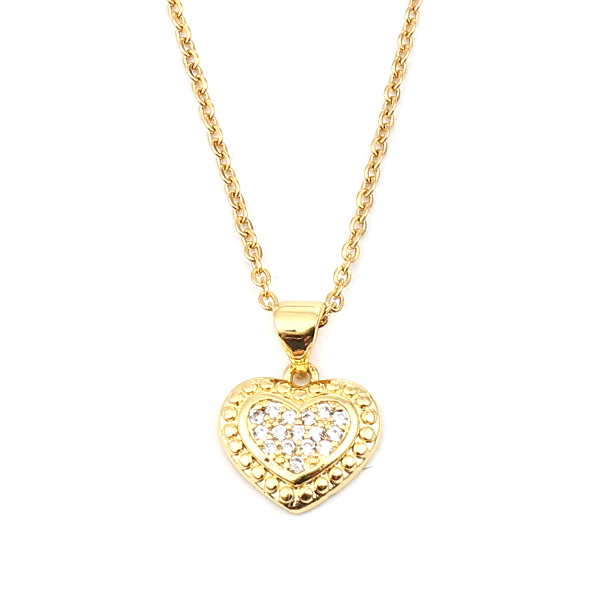 """304 Stainless Steel Necklace Gold Color Heart /Circle Ring Clear Cubic Zirconia 45cm(17 6/8"""") 44cm(17 3/8"""") long, 1 Piece"""