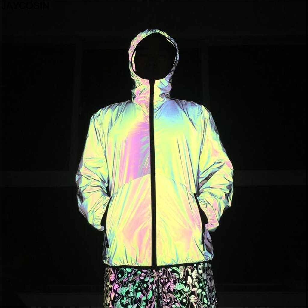 KLV, Мужская Светоотражающая куртка, модная яркая Светоотражающая одежда для пар, Nnight Running, хип-хоп куртки с капюшоном, уличная одежда, хит продаж