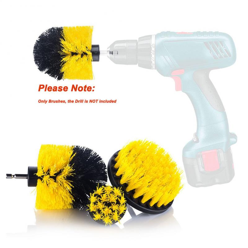 3pcs/set Electric Drill Brush Kit Tile Grout Scrubber Cleaning Drill Nylon Brushes Tub Cleaner Kit Wood Grinding Polishing Tools