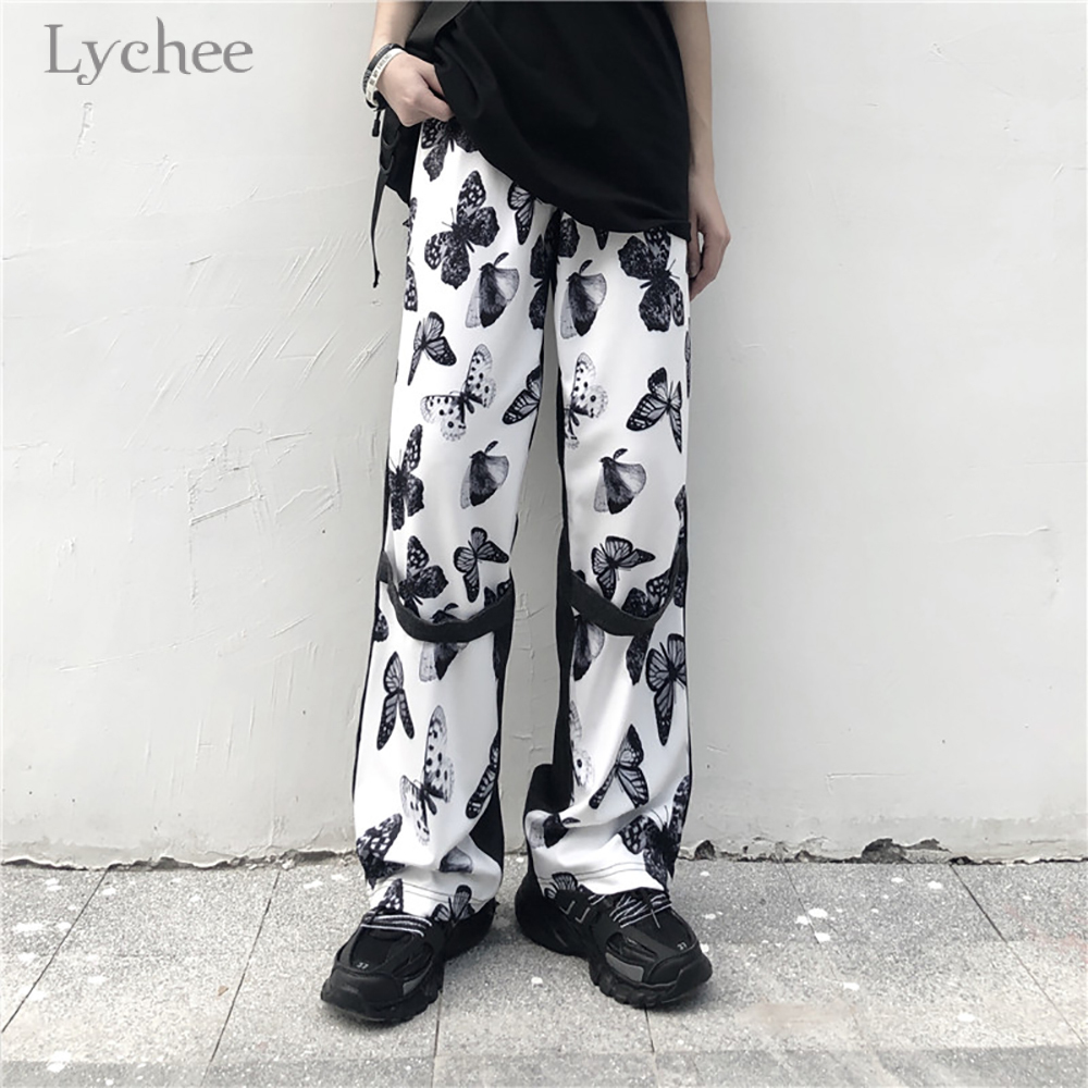 Lychee Harajuku Butterfly Printed Women Pants Elastic Waist Pocket Patchwork Summer Women Pants Straight Wide Leg Lady Pants