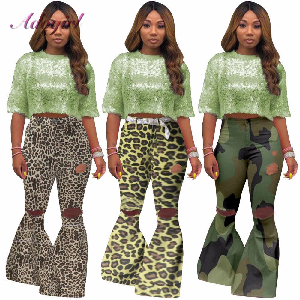 Women Distressed Jeans Autumn Casual Hole Zipper Fly High Waist Denim Flare Jeans New Female Streetwear Wide Leg Pants Trousers