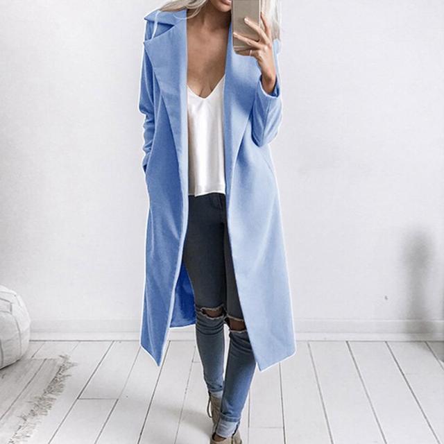 Winter Women Trench Coat Casual Lapel Collar Open Stitch Woolen  Female Coat Fashion Warm Pocket Solid Plus Size Long Outwear 3