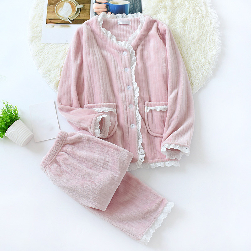 Winter Flannel Ribbed Pajamas Women's Sets Lace Patchwork Warm Female Sleepwear 2019 Fashion Korean Single Breasted Woman Set