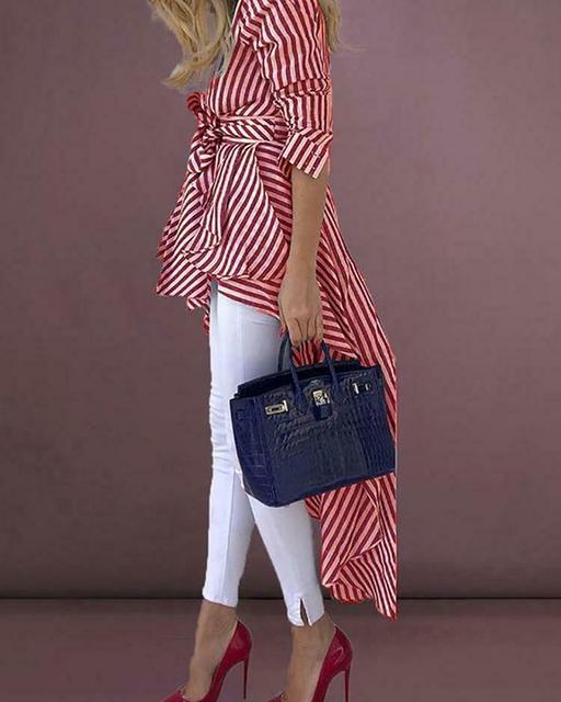 High Street Women Stripe Shirts Long Sleeve V-neck Loose Tops Blouse Striped Tied Front Dip Hem Shirt With Belt Long Shirts 6