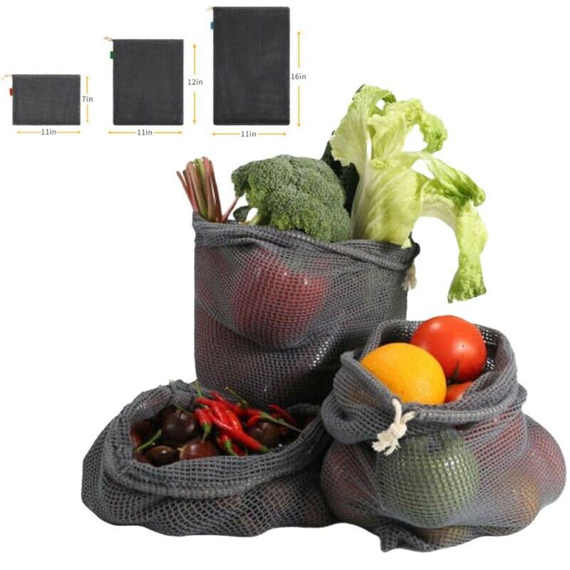 Reusable Mesh Produce Bags Grocery Fruit Vegetable Storage Shopping  Eco-Friendly Dyed Cotton Mesh Drawstring Drawstring Pocket