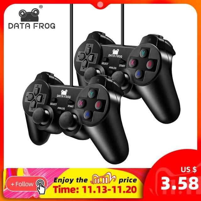 データカエル有線usbゲームコントローラpcコンピュータのラップトップのための振動とジョイスティックゲームパッドwinxp/Win7 8 10ゲームパッド