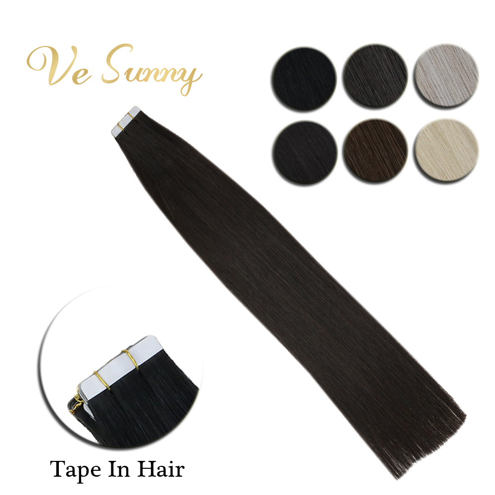 VeSunny Tape In Hair Extensions Machine Made Remy 100% Real Human Hair 2.5gr/pcs Black Brown Blonde Pure Color 10pcs 20pcs 40pcs