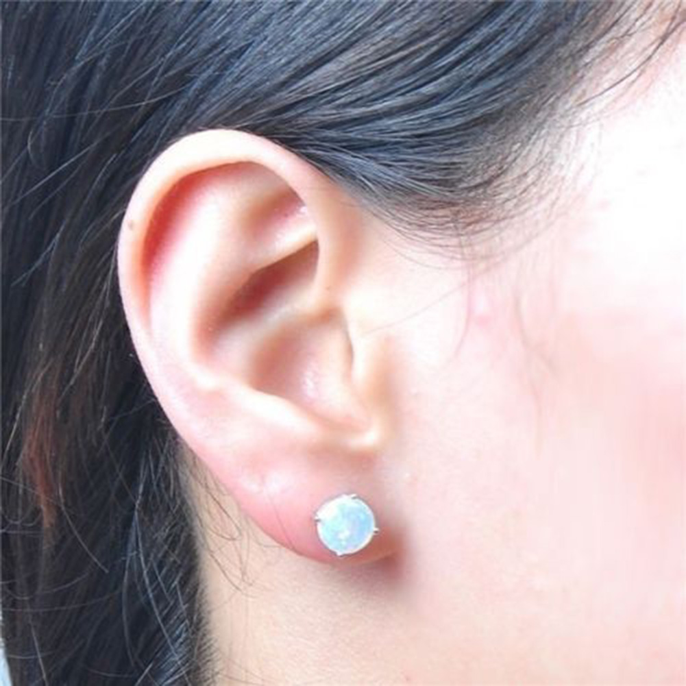 8MM Stainless steel Shiny Austrian Crystal Round Brincos Ear Studs in Six Colors For Women and Girls