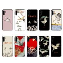 Crane Cartoon Case Voor Huawei P20 P30 P40 Pro Mate 10 20 30 Pro Lite P Smart Y7 2019 Plus nova 5T Cover Telefoon Accessoires Vogel(China)