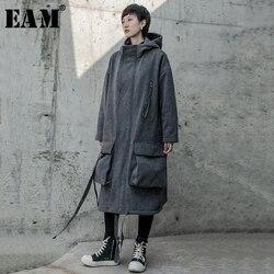 Женское флисовое пальто EAM, свободная длинная куртка с длинным рукавом и отложным воротником, серого цвета, большого размера, на весну-осень ...