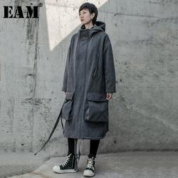[EAM] Loose Fit Gray Split Big Size fleece Long Jacket New Lapel Long Sleeve Women Coat Fashion Tide Spring Autumn 2020 19A-a818