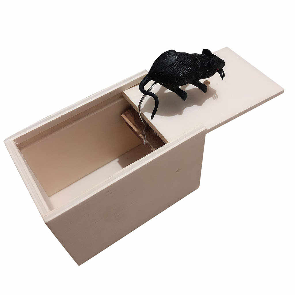 MUQGEW Halloween April Fool's Day gift Mouse Novelty toy Funny Scare Small Wooden Box Mouse Scary Girls props toys JY8