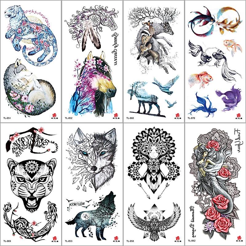 Colorful Watercolor Animal Print Deer Bird Temporary Fake Tattoo Sticker For Women Cool Tiger Wolf Body Art Waterproof Arm Tatoo