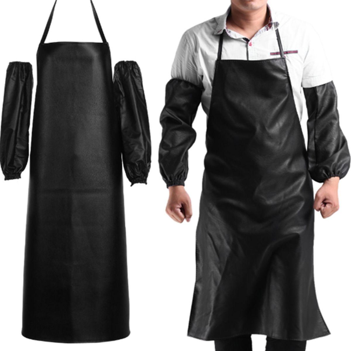 Ev ve Bahçe'ten Önlükler'de Su geçirmez anti yağ restoran Coing şef deri önlük manşet kolluk mutfak önlükleri temizlik hızlı kuruyan siyah title=