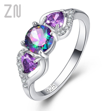 ZN Purple Lover Heart Ring Woman Cubic Zircon Trendy Classic 925 Silver Rings Jewelry Wedding Engagement Ring Jewelry Gift cuteeco hight quality silver pan ring love heart ring original wedding jewelry gift for lover engagement accessories