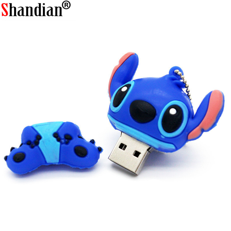 SHANDIAN Genuine Cartoon Lilo&Stitch USB Flash Drive 4GB 8GB 16GB 32GB U Disk Cute Thumb Memory Stick 64GB Pen Drive Usb Flash