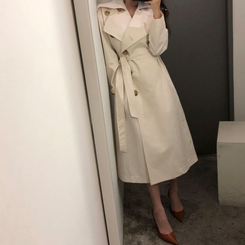 New Spring Autumn Long Trench Coat Women Slim V Neck Turn Down Collar With Belt Khaki Outerwear Ladies Elegant Windbreaker