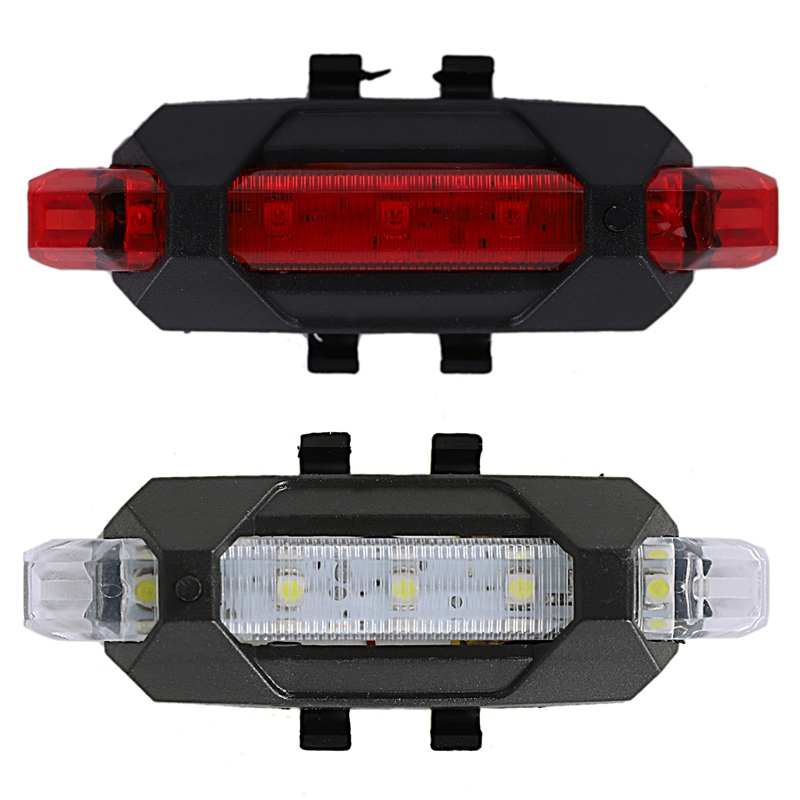 2 Set Portable USB Rechargeable Bike Bicycle Tail Rear Safety Warning Light Taillight Lamp Super Bright  1 Set Red Light & 1 Set|Bicycle Light| |  - title=