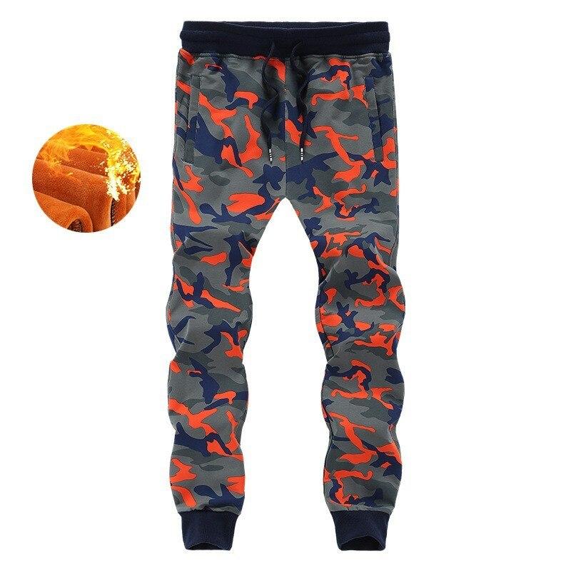Fashion Men Winter Camouflage Casual Joggers Sweatpants Thick Warm Fleece Lining Long Pants Elastic Waist Trousers Plus Size 8XL