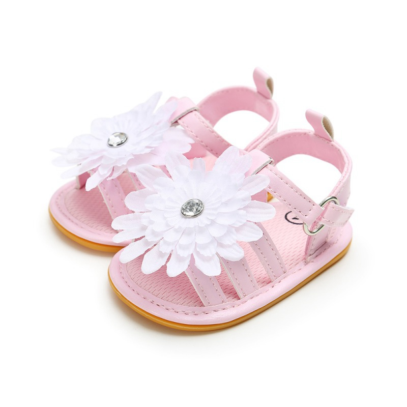 Hilittlekids Summer Infant Baby Girl Soft Sole Sandals Toddler PU Leather Shoes Flower Sandal Candy Color Beach Shoes