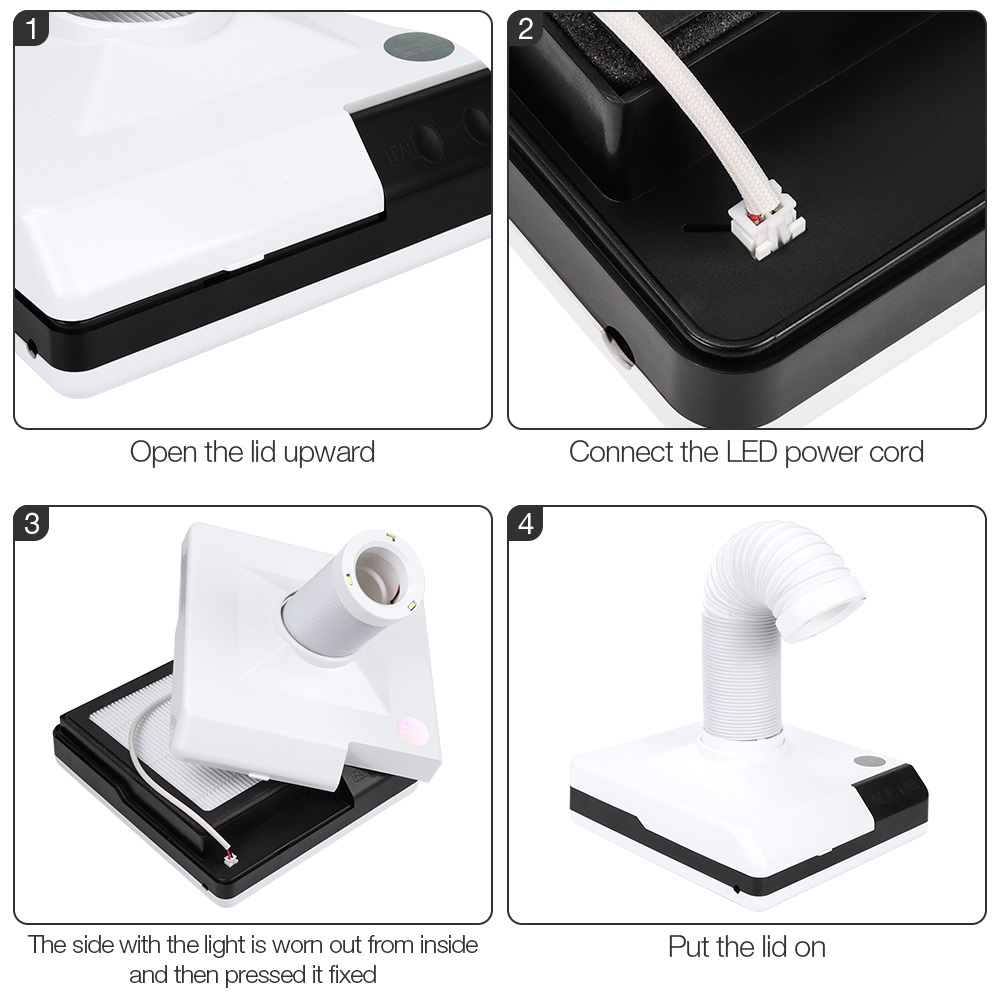 60W Strong Power Nail Suction Nail Cust Collector Vacuum Cleaner Retractable Nail Fan Art Salon Manicure Machine with Elb