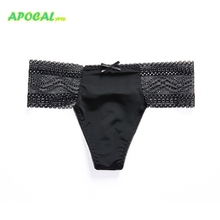 APOCAL Sexy Womens Panties Hollow Lace G-string Black Cozy Thong Cotton Female Underwear Women Sex Briefs Tanga