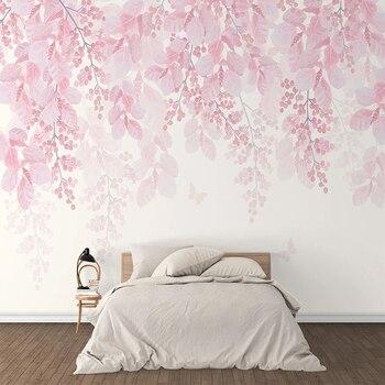 Custom 3D Wallpaper Murals Romantic Pink Cherry Blossom Flower Vine Large Mural For Bedroom Walls Home Decor Modern