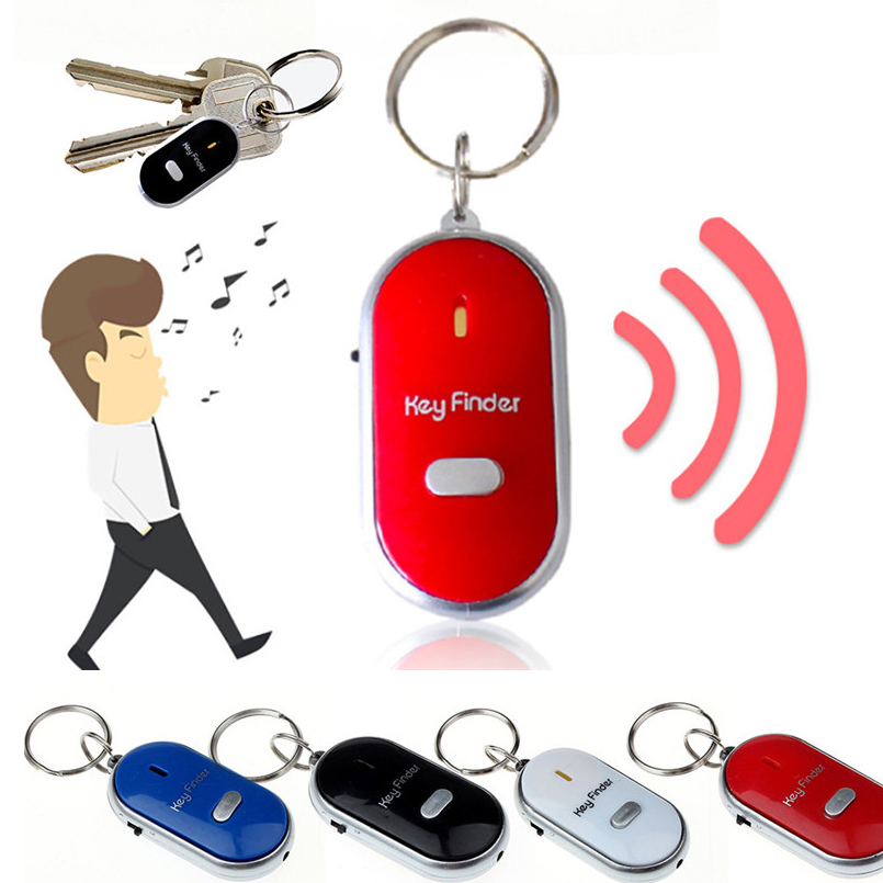 Torch Keychain Whistle-Finder Fob-Alarm-Locator Anti-Lost-Alarm Led-Light Remote-Sound-Control title=