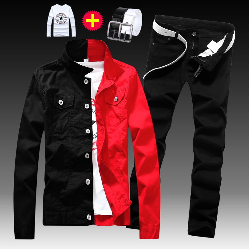 Fashion Mens Slim Fit Washed Denim Jacket Long Sleeve Full Length Trousers 2pcs Set Jeans Coat Pants Single Breasted Mixed Color