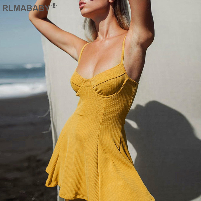Summer Women A-line <font><b>Dress</b></font> <font><b>Spaghetti</b></font> <font><b>Strap</b></font> Bustier Bodycon <font><b>Dress</b></font> <font><b>Casual</b></font> Ribbed Beach <font><b>Mini</b></font> <font><b>Dress</b></font> <font><b>Sexy</b></font> Night Club <font><b>Dress</b></font> Vestidos image