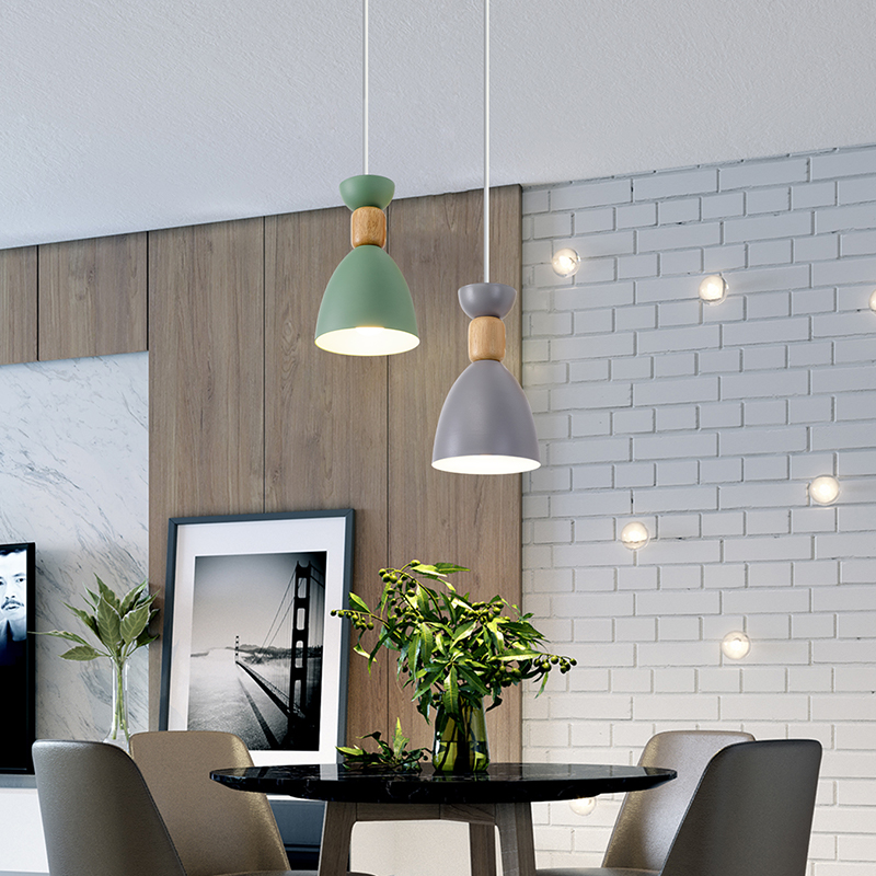 EL Three-color Wrought Iron Nordic contracted small and fresh style pendant lamp for indoor livingroom bedroom corridor pendant