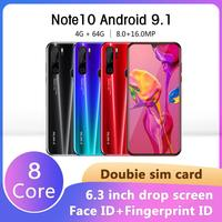 SAILF Note10 Plus Android 9.0 Octa Core Mobile Phone 6.3' FHD+ 16MP Triple Camera 4G RAM 64GB ROM Smartphone gsm wcdma unlocked