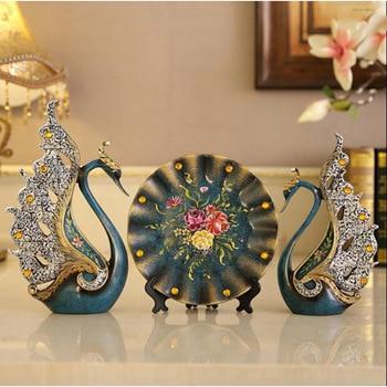 Figurines Vase Crafts Creative Desktop Accessories Livingroom Study Ornament Resin Modern Swan Deer Elephant Home Wedding Gift