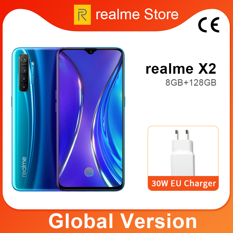 Global Version Realme X2 X 2 8GB 128GB Moblie Phone Snapdragon 730G 64MP Quad Camera 6.4'' NFC Cellphone VOOC 30W Fast Charger